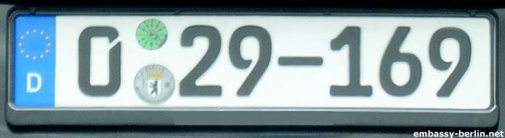 Diplomatenkennzeichen China (0 29-169)