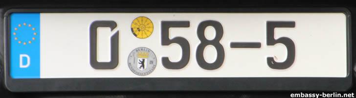 Diplomatenkennzeichen Irak (0 58-5)