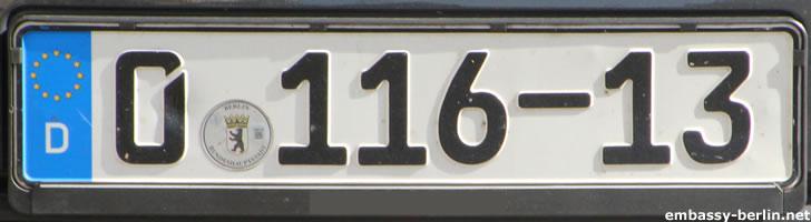 Diplomatenkennzeichen Rumänien (0 116-13)