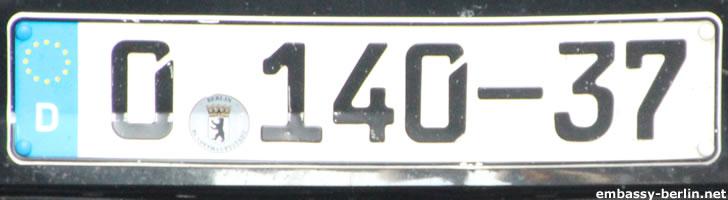 Diplomatenkennzeichen Russland (0 140-37)