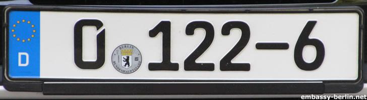 Diplomatenkennzeichen Sierra Leone (0 -122-6)