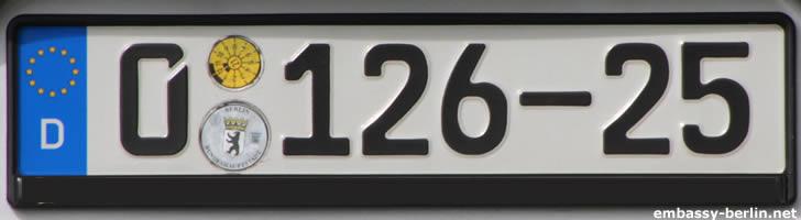 Diplomatenkennzeichen Spanien (0 126-25)