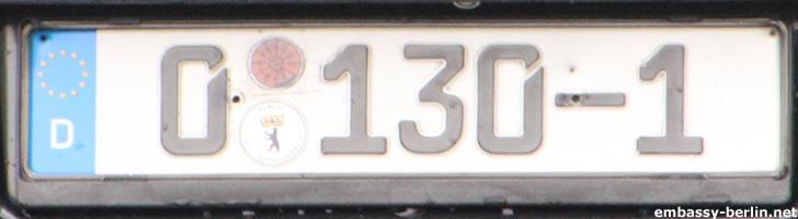Diplomatenkennzeichen Syrische Botschaft (0 130-1)